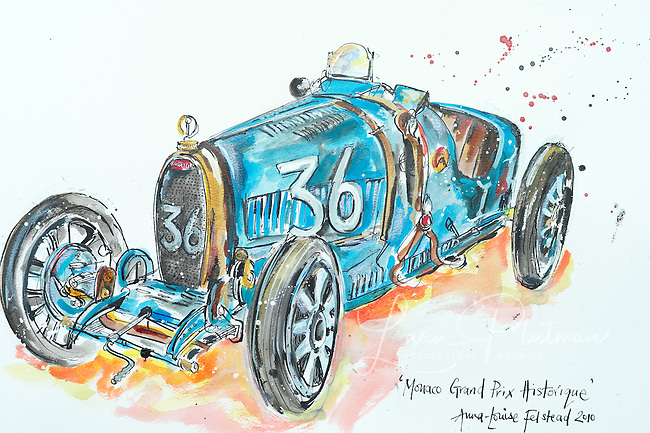 7th Grand Prix de Monaco Historique Bugatti Type 35 1925 by Anna Louise Felstead. Ink on paper. commissions welcome and all portraits of cars are for sale