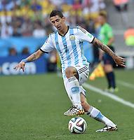 FUSSBALL WM 2014                ACHTELFINALE Argentinien - Schweiz                  01.07.2014 Angel di Maria (Argentinien) am Ball
