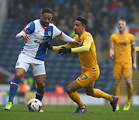 Blackburn Rovers' Liam Feeney holds off the challenge from Preston North End's Callum Robinson<br /> <br /> Photographer Stephen White/CameraSport<br /> <br /> The EFL Sky Bet Championship - Blackburn Rovers v Preston North End - Saturday 18th March 2017 - Ewood Park - Blackburn<br /> <br /> World Copyright &copy; 2017 CameraSport. All rights reserved. 43 Linden Ave. Countesthorpe. Leicester. England. LE8 5PG - Tel: +44 (0) 116 277 4147 - admin@camerasport.com - www.camerasport.com