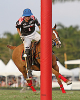 WELLINGTON, FL - FEBRUARY 05:  Nico Escobar #1 of Orchard Hill, controls the ball to the goal, during one of the early matches of the Ylvisaker Cup at the International Polo Club Palm Beach on February 05, 2017 in Wellington, Florida. (Photo by Liz Lamont/Eclipse Sportswire/Getty Images)