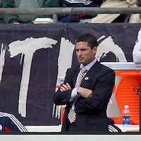 New England Revolution coach Jay Heaps. In a Major League Soccer (MLS) match, the New England Revolution defeated Portland Timbers, 1-0, at Gillette Stadium on March 24, 2012