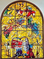 The Tribe of Levi. The Twelve Tribes of Israel depicted in stained glass By Marc Shagall (1887 - 1985). The Twelve Tribes are Reuben, Simeon, Levi, Judah, Issachar, Zebulun, Dan, Gad, Naphtali, Asher, Joseph, and Benjamin.