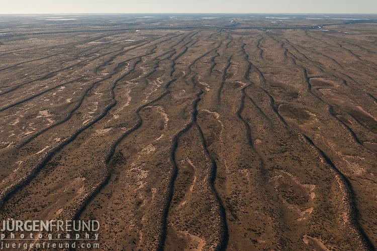 Aerial - Sturt Stoney Desert with green vegetation on the sand dunes.
