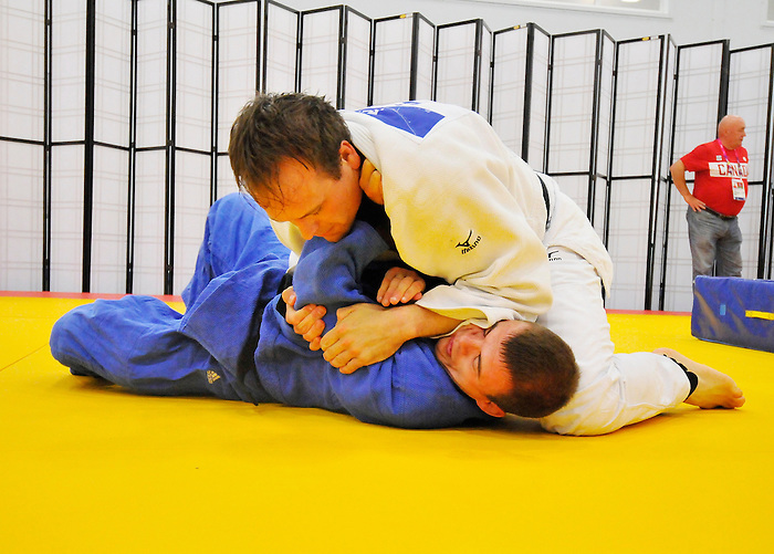 LONDON, ENGLAND – 08/26/2012:  Justin Karn and Tim Rees of the Canadian Judo Team during a training session at the London 2012 Paralympic Games at Mayesbrook Park SportHouse. (Photo by Matthew Murnaghan/Canadian Paralympic Committee)