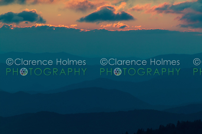 Blue mountain layers and sky at sunset viewed from Clingman's Dome in the Great Smoky Mountains National Park