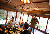 Hugh Montgomery (on left of pic) of The Independent dining in Kanga-an temple, a restaurant serving Shojin-ryori cuisine (eaten mainly by Buddhist followers), in Kyoto, Japan, on Friday 13th January 2012.
