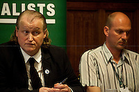 Gavin Millar, QC and Jason Parkinson, journalist - 2012 <br /> <br /> London, 19/04/2012. House of Parliament, Committee Room 12. NUJ (National Union of Journalists) organised a meeting to discuss the protection of sources and journalistic material in production order cases. From the NUJ London Photographer Branch (LPB) website: &lt;&lt;All those involved (freelance video journalist Jason Parkinson, BBC, ITN, BskyB, Hardcash Productions) in the Dale Farm production order case have shown great concern at the increase in the use of production orders against the media over the last 18 months and the fear is journalists are being forced into becoming the eyes and ears of the state. The consequences of this can have serious implications towards the impartiality and safety of journalists in the future&gt;&gt;. The speakers included: John Battle (ITN Head of Compliance), Gavin Millar QC (Doughty Street Chambers, lawyer specialised in media, public, employment and discrimination law), Jason Parkinson (NUJ freelance video journalist), Michelle Stanistreet (NUJ general secretary). Chair of the event was Austin Mitchell (Labour MP).
