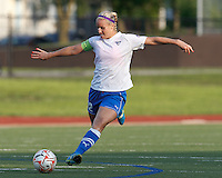 Boston Breakers midfielder Leslie Osborne (12) passes the ball. In a Women's Premier Soccer League Elite (WPSL) match, the Boston Breakers defeated Western New York Flash, 3-2, at Dilboy Stadium on May 26, 2012.
