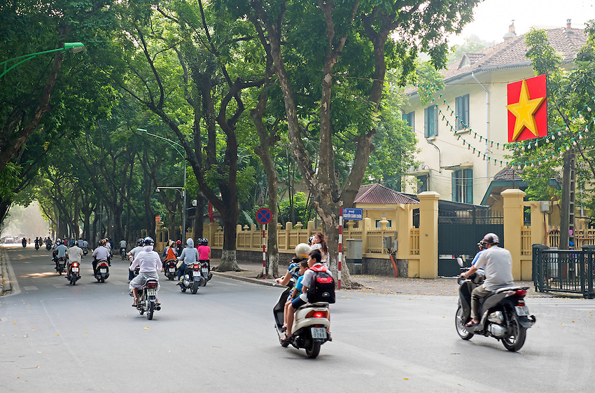 The streets in Hanoi with their lush green trees the capital of Vietnam, is known for its centuries-old architecture and a rich culture with Southeast Asian, Chinese and French influences. At its heart is the chaotic Old Quarter, where the narrow streets are roughly arranged by trade. There are many little temples, including Bach Ma, honoring a legendary horse, plus Đồng Xuân Market, selling household goods and street food.