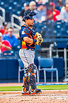 28 February 2017: Houston Astros catcher Juan Centeno in action during the Spring Training inaugural game against the Washington Nationals at the Ballpark of the Palm Beaches in West Palm Beach, Florida. The Nationals defeated the Astros 4-3 in Grapefruit League play. Mandatory Credit: Ed Wolfstein Photo *** RAW (NEF) Image File Available ***