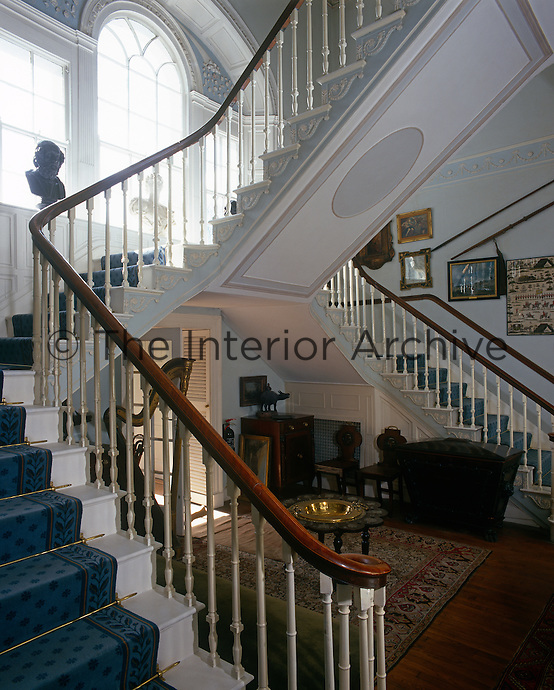 View of Glin Castle's famous double staircase in the entrance hall