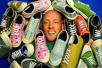 Charlotte small business photography of Gary Gagnon, founder and CEO of Remyxx, a 100 percent recycable sneaker in fashionable design. REMYXX markets itself as the world's first and only completely landfill-free sneakers. The Charlotte-based entrepreneur appeared on ABC television's Shark Tank in May 2012. Gagnon says more than 300 million pairs of shoes were thrown away in the U.S. in 2011.