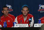 15 December 2007: Ohio State's Eric Brunner (l) and Doug Verhoff (r). The Ohio State Buckeyes held a press conference at SAS Stadium in Cary, North Carolina one day before playing in the NCAA Division I Mens College Cup championship game.
