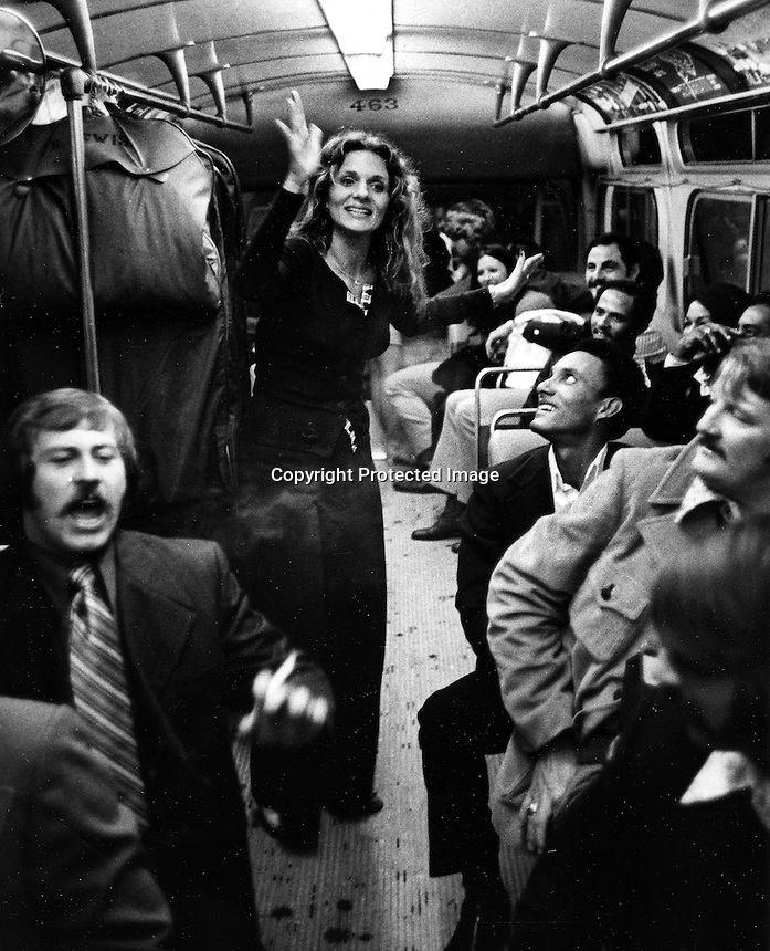 "Sandy Bando dancing in the isle of the team bus after the A's beat the ""big red machine""..photo 1972 by Ron Riesterer"