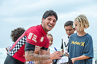 Sunset Beach, Oahu, HAWAII: (Wednesday, December 2, 2015): Gabriel Medina (BRA) after winning is heat today. Wave built during the day at the Vans World Cup of Surfing with wave heights reaching 10 - 12ft later in the day. Round 3 was completed with some big scores handsome big names being knocked out.   Photo: joliphotos.com