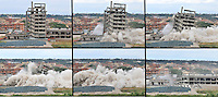 Combo picture showing the demolition of a 1980's unfinished building in Rome