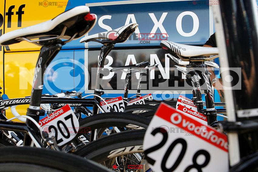 The bikes of Team Saxo Bank-Tinkoff Bank members along the team bus during the stage of La Vuelta 2012 between Huesca and Motorland Aragon (Alcaniz).August 24,2012. (ALTERPHOTOS/Acero) /NortePhoto.com<br /> <br /> **CREDITO*OBLIGATORIO** *No*Venta*A*Terceros*<br /> *No*Sale*So*third* ***No*Se*Permite*Hacer Archivo***No*Sale*So*third*