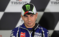 Yamaha MotoGP rider Jorge Lorenzo of Spain gestures during the official press conference ahead of the Australian Grand Prix in Phillip Island near Melbourne October 17, 2013. IMAGE RESTRICTED TO EDITORIAL USE ONLY- STRICTLY NO COMMERCIAL USE. Photo by Daniel Munoz/VIEWpress