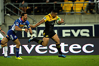 Ngani Laumape heads for his second try during the Super Rugby match between the Hurricanes and Stormers at Westpac Stadium in Wellington, New Zealand on Friday, 5 May 2017. Photo: Mike Moran / lintottphoto.co.nz