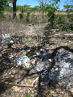 The island of Menjagan island is part of Bali Barat National Park, yet rubbish litter the island many places. Next to a tourist lunch spot someone has tried - but failed - to remove garbage by setting fire to it.