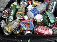 2/15/09---Aluminum cans and plastic bottles pile up in a trash can during a celebration  in Puerto Rico. Only a handful of towns in the island recycle materials..Photo by Angel Valentin, copyright 2009.