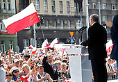 LODZ, POLAND, JUNE 26, 2010:.Jaroslaw Kaczynski campaigning for president in Lodz. On the far right Joanna Kluzik Rostkowska, head of his campaign..(Photo by Piotr Malecki / Napo Images / Forum) ..LODZ, 20/06/2010.Jaroslaw Kaczynski. Wiec wyborczy w Lodzi. Po prawej Joanna Kluzik Rostkowska , szefowa sztabu..Fot: Piotr Malecki / Napo Images / Forum.