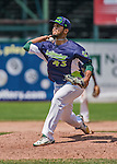 8 July 2014: Vermont Lake Monsters pitcher Fernand Cruzado on the mound against the Lowell Spinners at Centennial Field in Burlington, Vermont. The Lake Monsters rallied with two runs in the 9th to defeat the Spinners 5-4 in NY Penn League action. Mandatory Credit: Ed Wolfstein Photo *** RAW Image File Available ****
