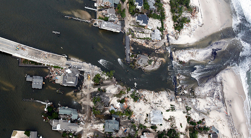 aerial view of devastation after Hurricane Sandy wreaked havoc on the Jersey Shore.  10/31/12  (Andrew Mills/The Star-Ledger).