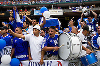 El Salvador fans cheer their team on before the game at RFK Stadium in Washington, DC.  Panama defeated El Salvador on penalty kicks, 5-3, after tying, 1-1,  in regulation time.