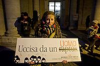 Roma  25 Novembre 2013<br /> Manifestazone in Campidoglio nella  Giornata internazionale contro la violenza sulle donne a Roma.<br /> Rome, Italy. 25th November 2013 -- The capitol in Rome glows red with a call to end violence against women is projected on the building. -- The capitol in Rome is lit red in observance of the International Day to stop violence against women.