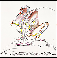 BNPS.co.uk (01202 558833)<br /> Pic: Sothebys/BNPS<br /> <br /> 'The Simpleton who controls your future'.<br /> <br /> A collection of more than 130 drawings by one of Britain's most celebrated cartoonists has emerged for auction and are tipped to sell for &pound;850,000.<br /> <br /> The collection of Gerald Scarfe - who has worked as a cartoonist for the Sunday Times for 44 years - includes satirical portraits of leading political figures from Winston Churchill to Theresa May, as well as examples of his work on Disney film Hercules and Pink Floyd's animation film The Wall.<br /> <br /> While many of the drawings included in the auction have been published, a number of works included in the sale are unseen.<br /> <br /> Those who have been immortalised in his cartoons include Donald Trump, Barack Obama, George Bush, David Cameron, Tony Blair, Margaret Thatcher, Boris Johnson, Nigel Farage, George Osborne and Jeremy Corbyn.