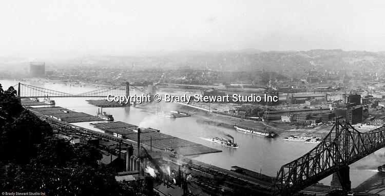 Pittsburgh PA - View of the Point, new Wabash Railroad Bridge, and South Side Coke Works from Mount Washington - 1905.