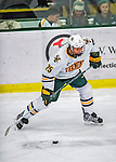 24 November 2012: University of Vermont Catamount defenseman Nick Luukko, a Sophomore from West Chester, PA, in third period action against the University of Minnesota Golden Gophers at Gutterson Fieldhouse in Burlington, Vermont. The Catamounts fell to the Gophers 3-1 in the second game of their 2-game non-divisional weekend series. Mandatory Credit: Ed Wolfstein Photo