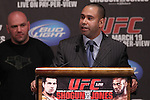 March 16, 2011; New York, NY; USA; at the final press conference for UFC 128.  The card will take place on Saturday March 19, 2011, at the Prudential Center in Newark, NJ.