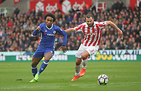 Stoke City's Erik Pieters battles with Chelsea's Willian<br /> <br /> Photographer Mick Walker/CameraSport<br /> <br /> The Premier League - Stoke City v Chelsea - Saturday 18th March 2017 - bet365 Stadium - Stoke<br /> <br /> World Copyright &copy; 2017 CameraSport. All rights reserved. 43 Linden Ave. Countesthorpe. Leicester. England. LE8 5PG - Tel: +44 (0) 116 277 4147 - admin@camerasport.com - www.camerasport.com