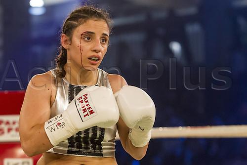 02.10.2015. Hamburg, Germany. Womens World Championship Boxing. WBA, WBO, WIBF Welterweight fight between Susi Kentikian (Germany) and Susana Cruz Perez (Mexico). Susi Kentikian with a cut on her face