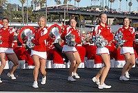 University of Wisconsin Spirit Squad cheer at the  Santa Monica Pier during their official Rose Bowl Pep Rally  on Thursday, December 30, 2010