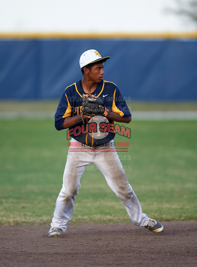 Boca Ciega Pirates shortstop Lazero Rodriguez (17) during a game against the Lakeland Spartans at Boca Ciega High School on March 2, 2016 in St. Petersburg, Florida.  Boca Ciega defeated Lakewood 2-1.  (Mike Janes/Four Seam Images)