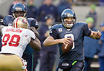 Seattle Seahawks quarterback Matt Hasselbeck scrambles against San Francisco 49ers at QWEST Field in Seattle. Jim Bryant Photo. ©2010. All Rights Reserved