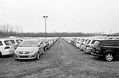 March 26, 2009<br /> Detroit, Michigan<br /> USA<br /> <br /> Foreign cars sit in a lot ready for transport into the country.