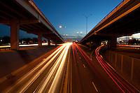 Blurred Austin Traffic on I-35 at Dusk