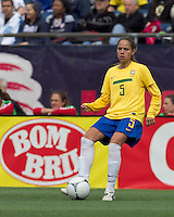 Brazilian defender Erika Santos (5) passes the ball. In an international friendly, Canada defeated Brasil, 2-1, at Gillette Stadium on March 24, 2012.