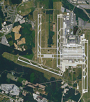 aerial photo map of Washington Dulles International Airport, Virginia