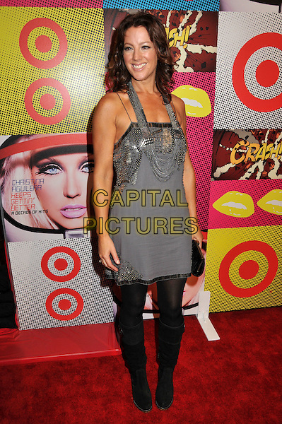 """SARAH McLACHLAN.Target and Christina Aguilera Celebrate """"A Night of Music"""" at the Target Terrace, .Los Angeles, CA, USA..November 23rd, 2008.full length sara maclachlan grey gray silver beads beaded  dress black boots tights.CAP/ADM/BP.©Byron Purvis/AdMedia/Capital Pictures."""