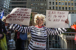 Supporters attend a rally in support of Donald Trump outside of Trump Tower in Manhattan
