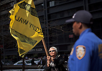 An Occupy Wall Street member attend a weekly march called by every friday on Wall Street in New York, United States. 23/03/2012.  Photo by Eduardo Munoz Alvarez / VIEWpress.
