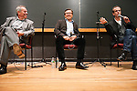 05/03/2011 - Medford/Somerville, Mass.  Panelists Wolfgang Puck, Daniel Boulud and Dan Barber share a laugh celebrity chef discussion and brunch sponsored by the Tufts Culinary Society on Tuesday, May 3, 2011.   (Alonso Nichols/Tufts University).