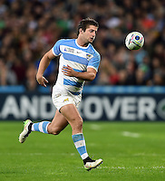 Santiago Cordero of Argentina chases after the ball. Rugby World Cup Bronze Final between South Africa and Argentina on October 30, 2015 at The Stadium, Queen Elizabeth Olympic Park in London, England. Photo by: Patrick Khachfe / Onside Images