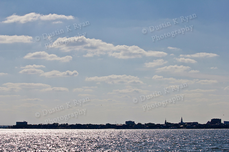 Charleston South Carolina downtown skyline blue sky and white puffy clouds