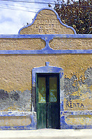 Painted wall and doorway in Yucatan Peninsula, Mexico.